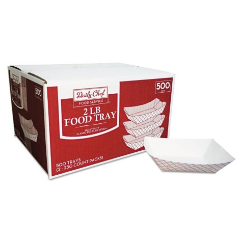 Daily Chef Paper Food Trays, 3 lb Capacity (Red/White, 500/Carton)