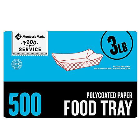Member's Mark 3 lb. Heavy Duty Capacity Food Tray (500 ct.)