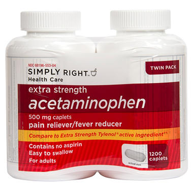 Simply Right Extra Strength Acetaminophen Caplets (600 ct., 2 pk.)