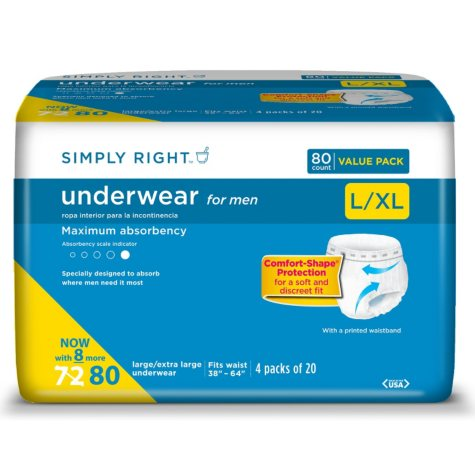 Simply Right Underwear for Men, Large/Extra Large (80 ct.)