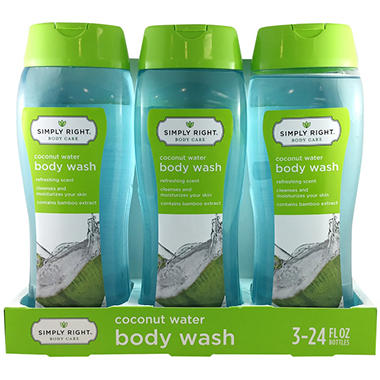 Simply Right Body Wash, Coconut Water (24 fl. oz., 3 pk.)