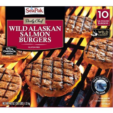 Daily Chef Wild Alaskan Salmon Burgers (1/4 lb. patties, 10 ct.)