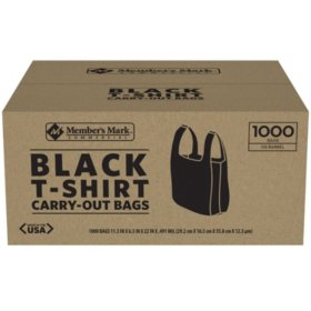Member's Mark Black T-Shirt Carryout Bags (1,000 ct.)