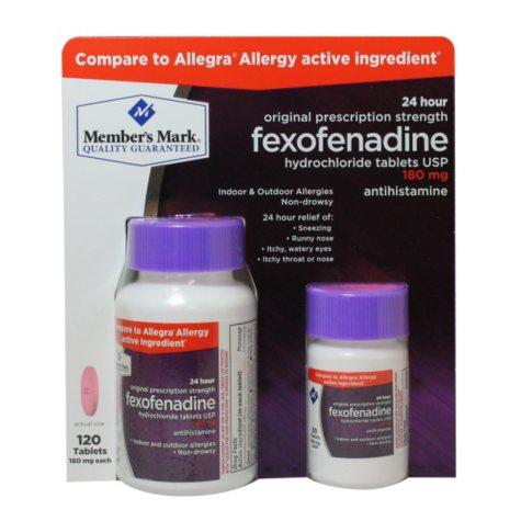 Member's Mark 180mg Fexofenadine Allergy (120 ct.)