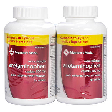 member s mark 500mg extra strength acetaminophen 600 ct 2 pk