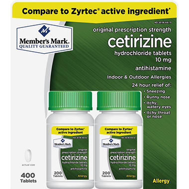 member's mark 10mg cetirizine hydrochloride antihistamine (400 ct, Skeleton
