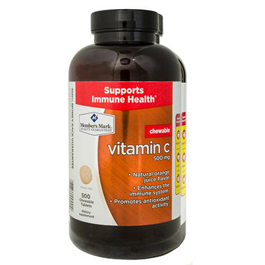 Member's Mark Chewable 500mg Vitamin C Dietary Supplement (500 ct.)