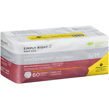 Simply Right Adult Care Underwear for Women, Size S/M, 60 ct.