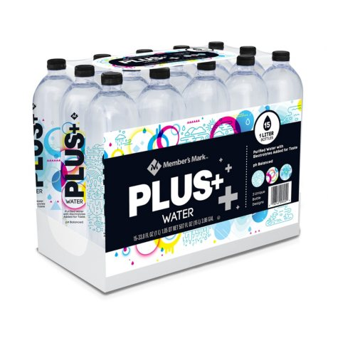 Member's Mark Purified Bottled Water with Electrolytes (1 L.,15 pk.)