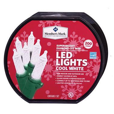 LED Diamond-Cut Mini Lights - Cool White (200 Count) - Sam\'s Club