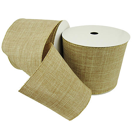 "Member's Mark Premium Wired Ribbon, Faux Linen Burlap 5"" (2 pk., 25 yd. each)"