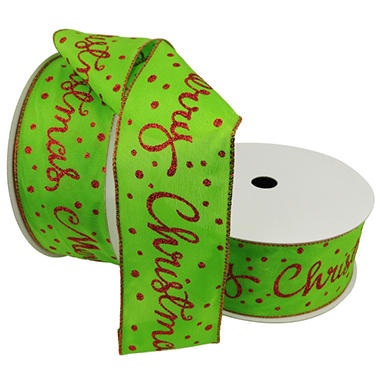 Member's Mark Premium Wired Ribbon, Red Glitter Script on Lime Satin 2.5