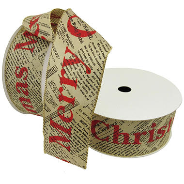 Member's Mark Premium Wired Ribbon, Merry Christmas on Newsprint Taupe Satin 2.5