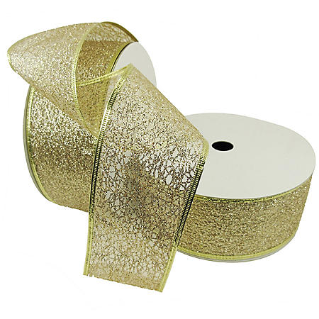 "Member's Mark Premium Wired Ribbon, Champagne Glitter 2.5"" (2 pk., 50 yd. each)"