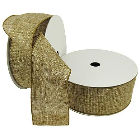 "Member's Mark Premium Wired Ribbon, Gold Metallic Burlap 2.5"" (2 pk., 50 yd. each)"