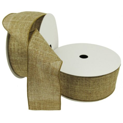 "Member's Mark Premium Wired Ribbon, Gold Metallic Burlap 2.5"" (2 pk., 50 yd. each)"