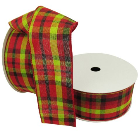 """Member's Mark Premium Wired Ribbon, Plaid in Lime, Red, Black 2.5"""" (2 pk., 50 yd. each)"""