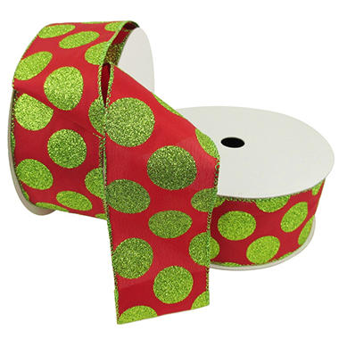Member's Mark Premium Wired Ribbon, Lime Glitter Dots on Red Satin 2.5
