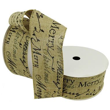 Member's Mark Premium Wired Ribbon, Merry Script on Faux Linen Burlap  2.5