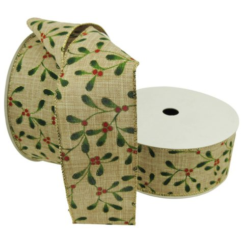 "Member's Mark Premium Wired Ribbon, Holly Painted on Faux Linen 2.5"" (2 pk., 50 yd. each)"