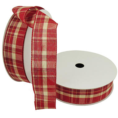 Member's Mark Premium Wired Ribbon, Plaid Red and Ivory 1.5