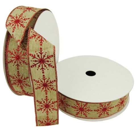 "Member's Mark Premium Wired Ribbon, Red Glitter Snowflakes on Faux Linen Burlap 1.5"" (2 pk., 50 yd. each)"