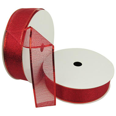 Member's Mark Premium Wired Ribbon, Red Woven Metallic 1.5