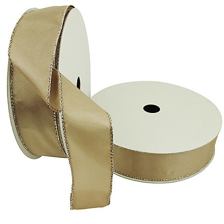 """Member's Mark Premium Wired Ribbon, Taupe Satin 1.5"""" (2 pk., 50 yd. each)"""