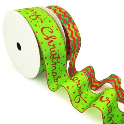 "Member's Mark Premium Wired Ribbon, Chevron Emerald Glitter on Red Satin 1.5"" and Merry Christmas Script on Lime Satin 2.5"" (2 pk., 50 yd. each)"