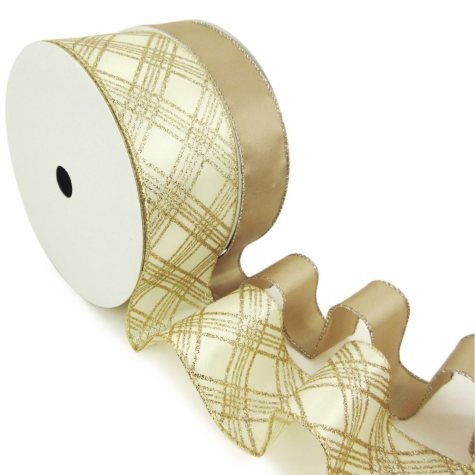 "Member's Mark Premium Wired Ribbon, Taupe Satin 1.5"" and Plaid Champagne Glitter on Ivory Satin 2.5"" (2 pk., 50 yd. each)"