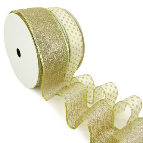 """Member's Mark Premium Wired Ribbon, Champagne Glitter Mini Dots on Ivory Satin 1.5"""" and Champagne Glitter 2.5"""" (2 pk., 50 yd. each)"""