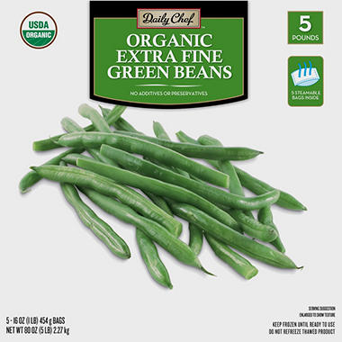 Daily Chef Organic Extra Fine Green Beans (16 oz. bag, 5 ct.)