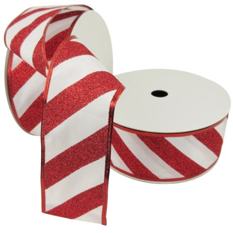 "Member's Mark Premium Wired Ribbon, Candy Cane Glitter Stripes on White Satin 2.5"" (2 pk., 50 yd. each)"