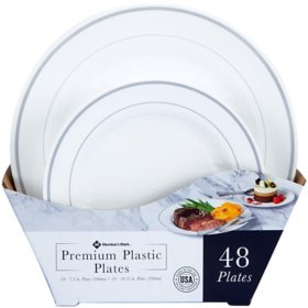 Member's Mark Premium Plastic Heavyweight Plates, Combo Pack (48 ct.)