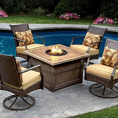 Amazing Savona Chat Set With Firepit 5 Pc.