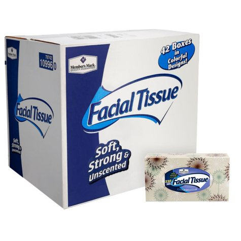 Member's Mark 2-Ply Soft and Strong Facial Tissue, 42 pk., 4,620 tissues (110 ct. per box)