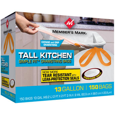 Member's Mark Simple Fit Drawstring Kitchen Bags - 13 gal. - 150 ct.
