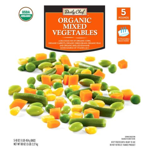 Daily Chef Organic Mixed Vegetables (16 oz. bag, 5 ct.)