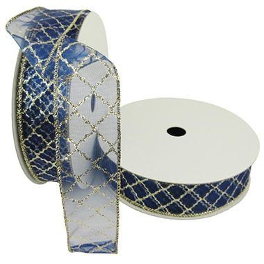 Member's Mark Premium Wired Ribbon, Gold Glitter Lattice on Navy Sheer 1.5