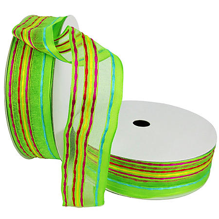 "Member's Mark Premium Wired Ribbon, Vertical Lines in Blue, Pink, Yellow, Orange,1.5"" Width (100 yards total, 2 pk.)"