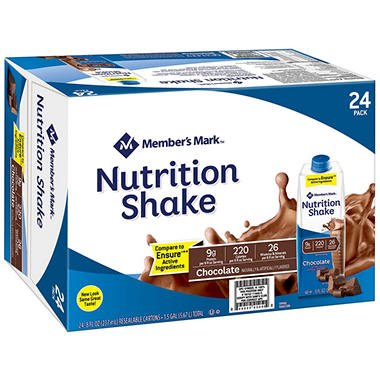 Member's Mark Nutritional Shake, Chocolate (8 fl. oz., 24 ct.)