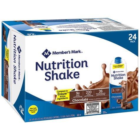 Member's Mark Nutritional Shake, Chocolate (8 fl. oz., 24 ct.)