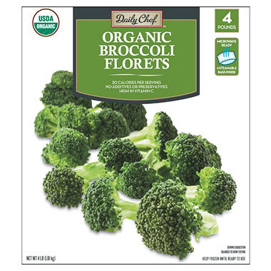Daily Chef Organic Broccoli Florets (1 lb., 4 ct.)