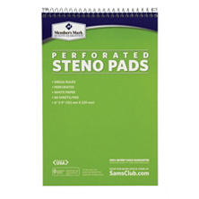 "Members Mark Perforated Steno Pad, 6"" x 9"", White, 12pk."