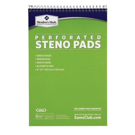 "Members Mark Perforated Steno Pad, 6"" x 9"", White, 12pk."