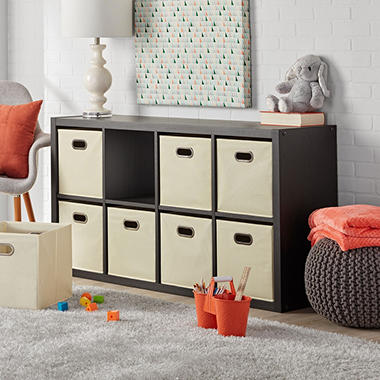 8 Cube Shelf Organizer With Storage Bins Furniture Neat Display Dark Oak