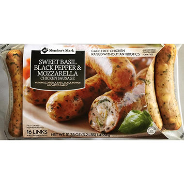 Member's Mark Sweet Basil, Black Pepper & Mozzarella Cheese Chicken Sausage (16 links)