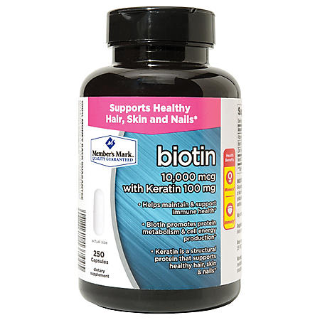 Member's Mark Biotin 10,000mcg with Keratin 100mg (250 ct.)