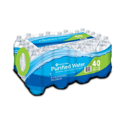 Member's Mark Purified Bottled Water (16.9 oz. bottles, 40 pk.)
