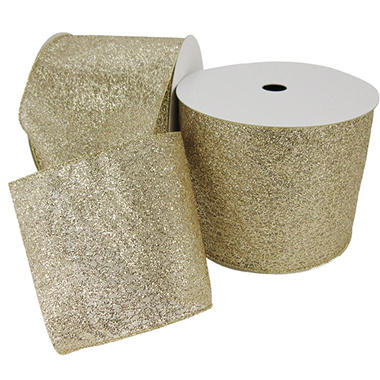Member's Mark Premium Wired Ribbon,  Champagne Glitter on Champagne Sheer, 5